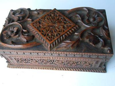 Lovely Antique Hand Carved Chinese Cantonese Wooden Box