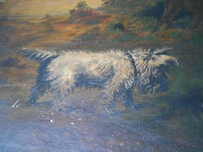 Lovely Large Antique Oil Painting Scottish Terrier Scottie Dog Westie Dog Signed