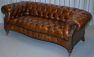 Restored 1 Of 2 Serpentine Whiskey Brown Leather Victorian Chesterfield Sofas