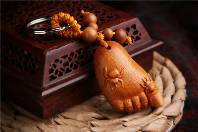Wood Carving Chinese Spider Foot Statue Sculpture Pendant Key Chain 知足常乐