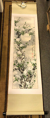 """NEW LOWER PRICE Hand-Painted Chinese Hanging Wall Scroll Winter """"Snow Moon"""""""