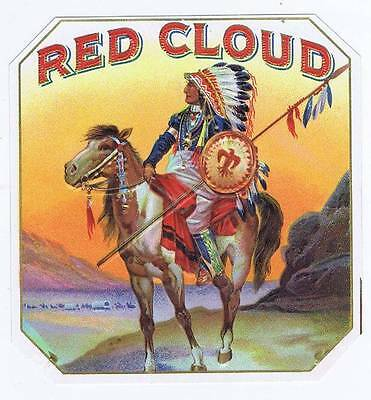 Red Cloud, original outer cigar box label, Native American Indian on horse
