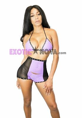 NICKY ~Women sexy dancewear exotic dancer outfit strip PAD BRA & CUT OUT SHORTS
