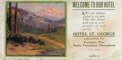 "R. Atkinson Fox, Ink Blotter Mountains, Hotel St. George 6.25""x3.25"" Dated 1920"