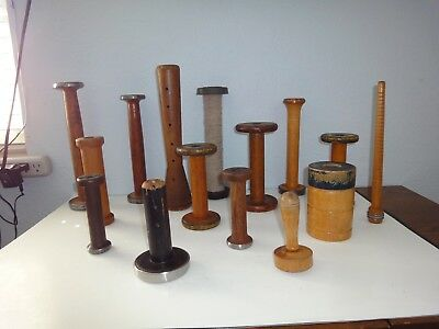 Vintage Lot 15 Antique Wooden Thread Weaving Bobbin Spools