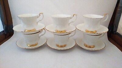 Set of SIX Royal Albert Val D'or Cup & Saucer Sets - 12 Pieces in Total