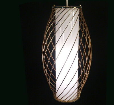 Vtg MOE Lighting Glass Cylinder Shade Wire Cage Pendant Lamp Fixture NICE Light