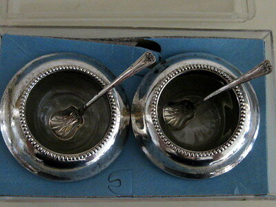 Vintage WHITING Sterling Silver CRYSTAL SALT CELLARS with Sterling Spoons Rare!
