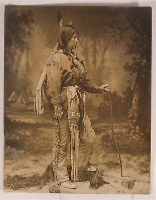 1910s NATIVE AMERICAN INDIAN SEPIA TONED ART PHOTOGRAPH PHOTO By D F BARRY