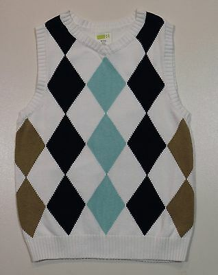 EUC Crazy 8 Boys Spring White with Blue & Brown Argyle V-Neck Vest Size M 7-8