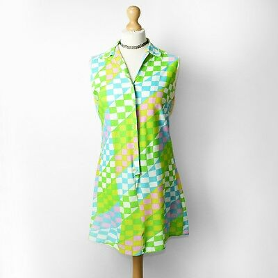 Vintage 60s Green Checkered Mini Dress UK10 Checkerboard Mod 70s Psychedelic