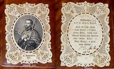 Santino Merlettato originale San S Francesco Saverio 1870 holy card cards