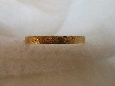 antique/vintage yellow gold fill brush finish with flower bangle bracelet...