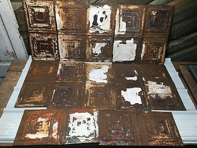 "12pc Lot of 23"" by 11"" Antique Ceiling Tin Vintage Reclaimed Salvage Art Craft"