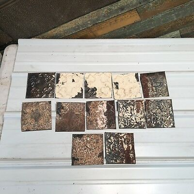 "12pc Lot of  6"" by 6"" Antique Ceiling Tin Vintage Reclaimed Salvage Art Craft"