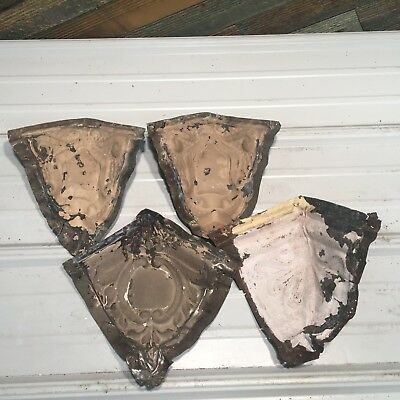 "4pc Set mixed match corners 6"" Antique Ceiling Tin Vintage Reclaimed Salvage Art"
