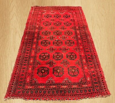 Auhentic Hand Knotted Vintage Afghan Turkmon Bokhara Wool Rug 6 x 3  Ft
