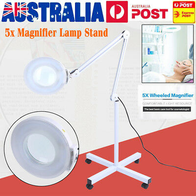 5x Magnifying Lamp Glass Lens Beauty Illuminated Light Magnifier Wheels On Stand