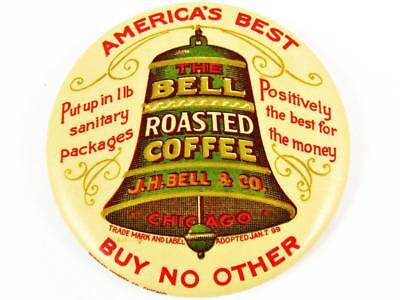 Antique J.h. Bell & Co. Roasted Coffee Advertising Celluloid Pocket Mirror