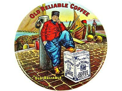 Antique Old Reliable Coffee Advertising Celluloid Pocket Mirror