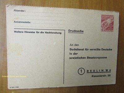 EBS Germany 1946 Postal Card Soviet Zone Search Service for Missing Germans SDP1