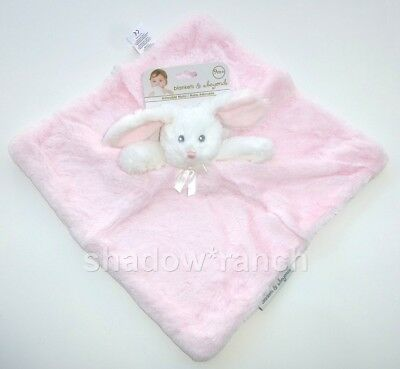 Blankets & Beyond Pink White Bunny Security Blanket Soft Plush Nunu Lovey Toy