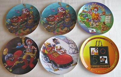 McDonald's~Set of 6 Plates~Ronald's Red Shoe~50th Anniversary~California~VG/Exc