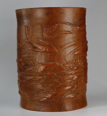 Chinese bamboo Carved bamboo Brush Pot height 17.8cm