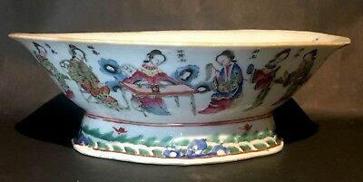 Large Antique 19th / 20th Famille Rose Lobed Dish Ladies Calligraphy Qing