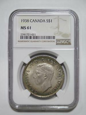 Canada Dollar 1938 $1 Ngc Ms61 Graded George Vi Toned World Coin Collection Lot