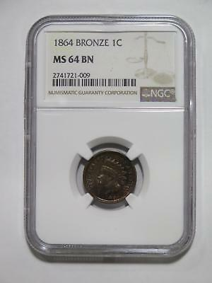 Indian Head Cent 1864 1C Bronze Ngc Ms64 Toned Variety? Old Coin Collection Lot