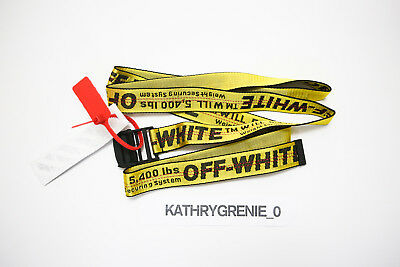 Off White Belt Tie Down Yellow Nylon Industrial Iron Buckle NWT
