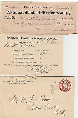 Maryland MD --  National Bank of Mechanicsville - 1919 Check, Deposit, Envelope