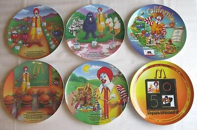 McDonald's~6 Plates~McDonaldland Rhymes~50th Anniversary~California~Excellent