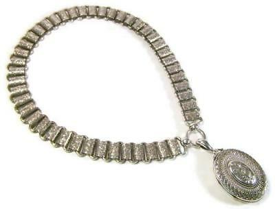 Antique 1882 English Sterling Silver Bookchain Necklace w Picture Locket Pendant