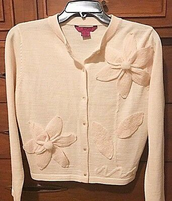 Vintage IDI by Mathew 3D Floral Ivory Wool Blend L/S Cardigan Sweater SM or MED