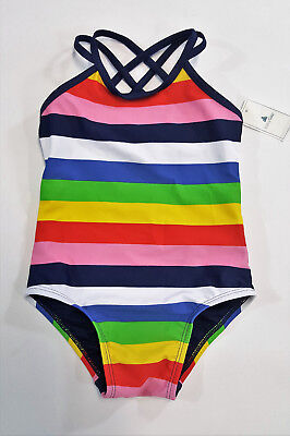 NWT Baby Gap Girls Size 3t 4t or 5t Rainbow Strappy Swimsuit Bathing Suit