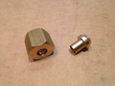 """Solder Olive/Nipple and Gland Nut for Copper Pipe 1/8"""" BSP x 1/8"""" Tube"""