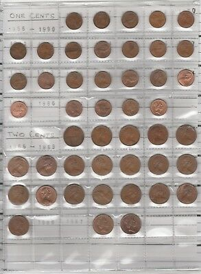 Full Set One And Two Cent With Rare 1967-8-9 Coins