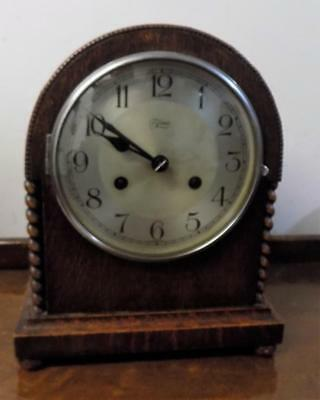 oak cased barley twist mantel clock