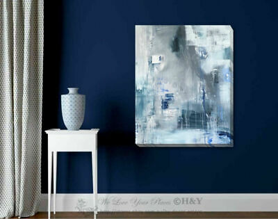 Blue Gray Abstract Stretched Canvas Print Framed Wall Art Home Shop Office Decor
