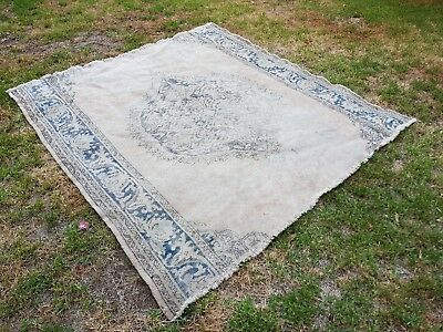 Large Turkish oushak vintage rug beige/navy blue muted faded wool hand knotted