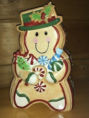 Unique Snowman Gingerbread Candy Ceramic Cookie Jar Christmas Holiday Container