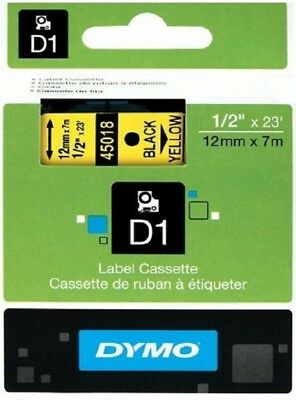 NON FADING ! ORIGINAL DYMO D1 LABEL 12mmX 7M 45018 TAPE GEEL YELLOW GIALLO JAUNE