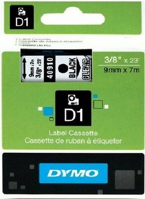 NON FADING ORIGINAL DYMO 40910 D1 9mmX 7M BLACK on CLEAR LABEL TAPE RUBAN NASTRO