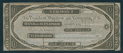 USA: Vermont Bank of Windsor 1818-1828 $1 Unissued. Haxby Cat VT280 G8 Nice UNC