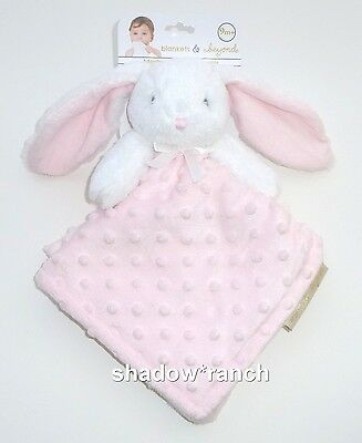 NWT Blankets & Beyond Pink White Bunny Security Blanket Minky Dot Nunu Lovey Toy