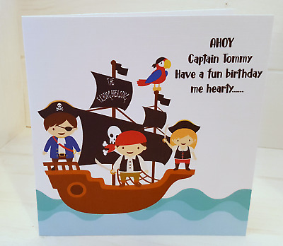 Handmade Personalised Pirate Themed Birthday Card Cute Pirate