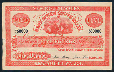 """Bank of New South Wales Circa 1880 £5 Sydney used in FILM """"Robbery Under Arms"""""""