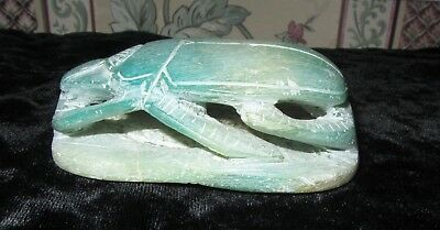"Ancient Egyption Green Stone 3"" Scarab Beetle W Hieroglyphics Base Paperweight"